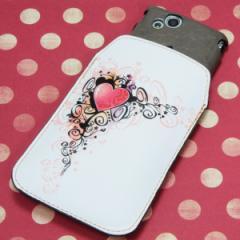 本革(レザー) スマートフォンケース【007 スタイリッシュハート】 【Lサイズ】iPhone5/ARROWS Kiss F-03E/MEDIAS U N-02E 等汎用