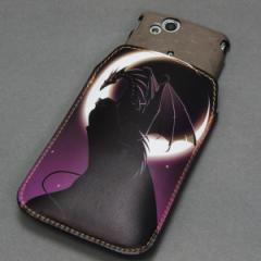 本革(レザー) スマートフォンケース【037 三日月とドラゴン】 【Lサイズ】iPhone5/ARROWS Kiss F-03E/MEDIAS U N-02E 等汎用
