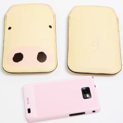 本革(レザー) スマートフォンケース【353 ぶた】 【Lサイズ】iPhone5/ARROWS Kiss F-03E/MEDIAS U N-02E 等汎用