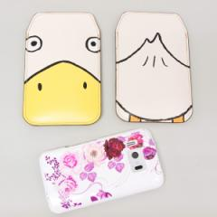 本革(レザー)スマートフォンケース【347 あひる】【LLロング】Ascend D2/MEDIAS X/Galaxy S4/AQUOS PHONE ZETA/MEDIAS X/Disney mobile