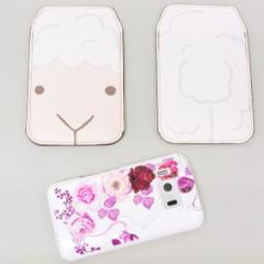 本革(レザー)スマートフォンケース【346 ひつじ】【LLロング】Ascend D2/MEDIAS X/Galaxy S4/AQUOS PHONE ZETA/MEDIAS X/Disney mobile
