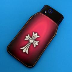 本革(レザー) スマートフォンケース【249 クロスレッド】 【Lサイズ】iPhone5/ARROWS Kiss F-03E/MEDIAS U N-02E 等汎用