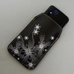本革(レザー) スマートフォンケース【282 闇に白く咲く華】 【Lサイズ】iPhone5/ARROWS Kiss F-03E/MEDIAS U N-02E 等汎用