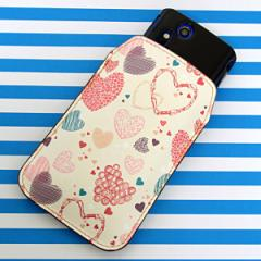 本革(レザー) スマートフォンケース【480 素朴なハート】 【Lサイズ】iPhone5/ARROWS Kiss F-03E/MEDIAS U N-02E 等汎用