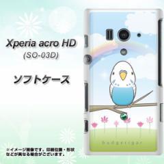 docomo Xperia acro HD SO-03D IS12S TPU ソフトケース / やわらかカバー【SC839 セキセイインコ ブルー 素材ホワイト】 UV印刷 (エクス