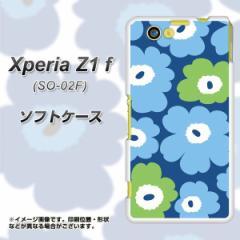 docomo XPERIA Z1 f SO-02F TPU ソフトケース / やわらかカバー【SC829 ルーズフラワー ブルー×ライトブルー 素材ホワイト】 UV印刷 (