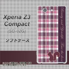 docomo Xperia Z3 Compact SO-02G TPU ソフトケース / やわらかカバー【519 チェック柄にリス 素材ホワイト】 UV印刷 (エクスペリアZ3