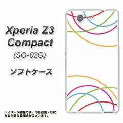 docomo Xperia Z3 Compact SO-02G TPU ソフトケース / やわらかカバー【IB912 重なり合う曲線 素材ホワイト】 UV印刷 (エクスペリアZ3