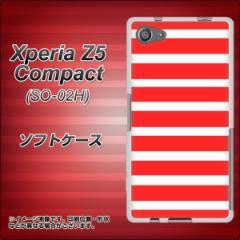 Xperia Z5 Compact SO-02H TPU ソフトケース / やわらかカバー【EK881 ボーダー レッド 素材ホワイト】 UV印刷 (エクスペリアZ5コンパク