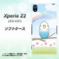 Xperia Z2 SO-03F TPU ソフトケース / やわらかカバー【SC839 セキセイインコ ブルー 素材ホワイト】 UV印刷 (エクスペリア ゼットツー/