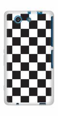 docomo XPERIA A4 SO-04G TPU ソフトケース / やわらかカバー【151 フラッグチェック 素材ホワイト】 UV印刷 (エクスペリアA4/SO04G用)