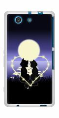 docomo XPERIA A4 SO-04G TPU ソフトケース / やわらかカバー【604 月明かりの恋ネコ 素材ホワイト】 UV印刷 (エクスペリアA4/SO04G用)