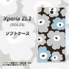 Xperia ZL2 SOL25 TPU ソフトケース / やわらかカバー【SC828 ルーズフラワー ブラウン×グレー 素材ホワイト】 UV印刷 (エクスぺリア