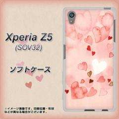 au Xperia Z5 SOV32 TPU ソフトケース / やわらかカバー【1125 ハートの和紙 素材ホワイト】 UV印刷 (エクスペリアZ5 SOV32/SOV32用)