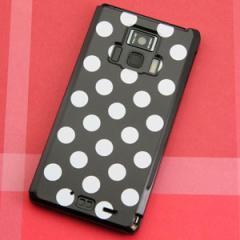 REGZA Phone T-01D / Disney Mobile on docomo F-08D 共用 ケース【332 ドット柄(水玉)ブラック× ホワイト Big】