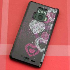 REGZA Phone T-01D / Disney Mobile on docomo F-08D 共用 ケース【468 ハートのシャンデリア】