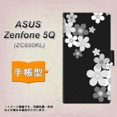 メール便送料無料 ASUS Zenfone 5Q ZC600KL 手帳型スマホケース 【 1334 桜のフレーム BK&WH 】横開き (ASUS ゼンフォン 5Q ZC600KL/ZC6