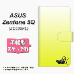メール便送料無料 ASUS Zenfone 5Q ZC600KL 手帳型スマホケース 【ステッチタイプ】 【 YI862 イニシャル ネコ U 】横開き (ASUS ゼンフ