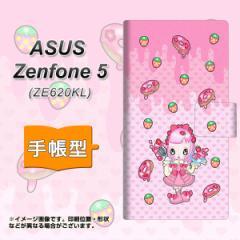 メール便送料無料 ASUS Zenfone 5 ZE620KL 手帳型スマホケース 【 AG816 ストロベリードーナツ(水玉ピンク) 】横開き (ASUS ゼンフォン 5
