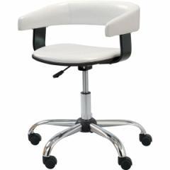 デスクチェア(椅子) スチール/ソフトレザー 昇降・回転式 肘掛け RKC-261WH ホワイト(白) 〔送料無料〕