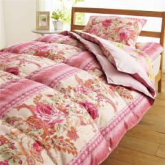 2枚合わせ羽根布団5点セット/寝具セット 〔ボリュームタイプ/ピンク〕 オールシーズン対応 毛布・枕付き 〔送料無料〕