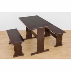 木目調ダイニングテーブル&ベンチチェア2脚セット 〔ダークブラウン〕 木製/パイン材 〔テーブル:幅90cm/ベンチ:幅74cm〕