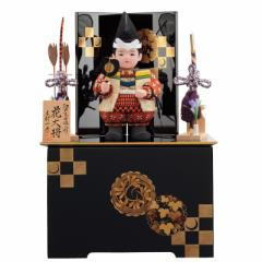 五月人形 子ども大将 収納飾り 木目込み 一秀 コンパクトサイズ 花大将 幅32cm [i-46-m12]