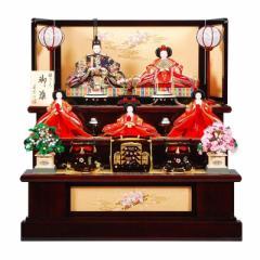 雛人形 五人揃三段飾り 【舞桜】セット 30号(5人)[幅90cm] 花梨塗[sb-3-42] 雛祭り