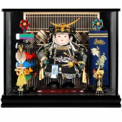 五月人形 子供大将 ケース飾り 伊達政宗 おぼこ大将 黒塗 鯉幟付 幅50cm [sb-9-76]