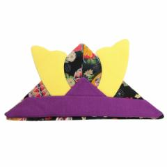五月人形 [布製折り紙兜] 花柄 [紫] 頭サイズ40〜45cm [節句小物記念撮影グッズ] [ok-sb11]