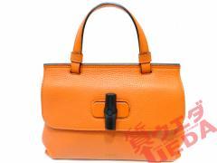 【GUCCI】グッチ バッグ ハンドバッグ レザー バンブーデイリー オレンジ ショルダーバッグ 美品