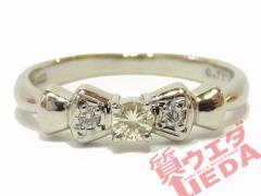 リング ダイヤモンド Pt900 指輪 リボン プラチナ 12号 ジュエリー