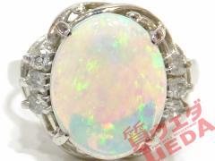 【JEWELRY】リング オパール 1.34ct ダイヤモンド 0.10ct Pt900 プラチナ 約8号