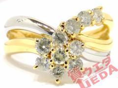 【JEWELRY】指輪 リング Pt900 プラチナ K18 YG イエローゴールド ダイヤモンド 0.50ct 約11号
