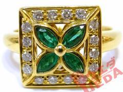 【JEWERLY】ジュエリー リング 指輪 ダイヤモンド 0.19ct エメラルド 0.30ct K18 YG イエローゴールド 約11号