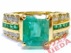 【JEWERLY】ジュエリー リング 指輪 ダイヤモンド 0.41ct 0.30ct エメラルド 1.70ct K18 YG イエローゴールド 約15.5号