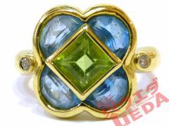 【JEWELRY】ジュエリー 指輪 リング K18 YG イエローゴールド ペリドット アクアマリン ダイヤ 0.04ct 約14号 仕上げ済み