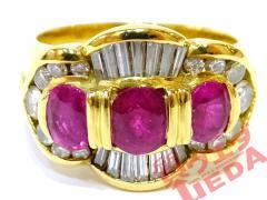 【JEWELRY】リング 指輪 K18 YG イエローゴールド ルビー 1.63ct ダイヤモンド 0.70ct レッド 約14号