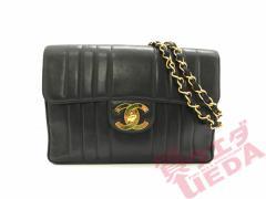 【天白】CHANEL シャネル デカマト マトラッセ ブラック レザー ゴールド金具 ココマーク バッグ