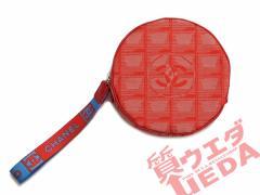 【名東】【新品同様・美品】CHANEL シャネル ニュートラベルライン 丸型 ポーチ 赤 キャンバス バッグ 小物入れ