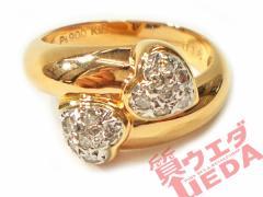 【仕上げ済】 スタージュエリー K18PG Pt900 ピンク プラチナ ダイヤ ハートモチーフリング #9号 5.9g ジュエリー