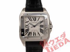【CARTIER】カルティエ サントス100LM W20073X8 白文字盤 SS×黒革ベルト メンズ 腕時計 自動巻き