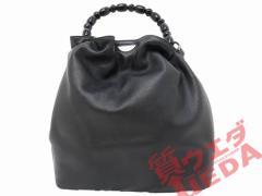 【名東】【CHRISTIAN DIOR】クリスチャンディオール MA-1929 ハンドバッグ 巾着型 黒革【中古】
