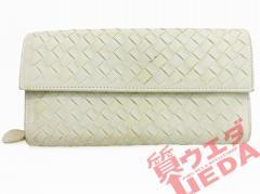 【名東】ボッテガヴェネタ 二つ折り長財布 イントレチャート ミルクホワイト 150509-V001N-9012 財布