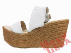 【名東】クロエ ウェッジサンダル 白 36 約23cm ロングレザー巻き アパレル 女 靴