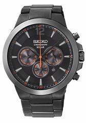 【当店1年保証】セイコーSeiko Mens SSC323 Analog Display Analog Quartz Black Watch