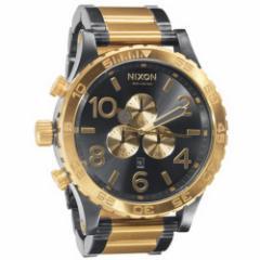 【当店1年保証】ニクソンNixon Mens A083-595 Steel-Two-Tone Analog Black Dial Watch
