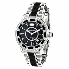 【当店1年保証】ラックスマンLUXURMAN Galaxy Midsize Diamond Watch for Men and Women Stainless St