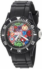 【当店1年保証】マーベルMarvel Mens Classic Quartz Plastic Casual Watch, Color:Black (Model: WM