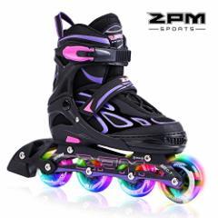 インラインスケート2pm Sports Vinal Girls Adjustable Flashing Inline Skates, All Wheels Light Up, Fun
